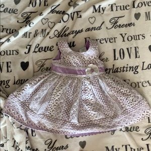 Jona Michelle White Lace and Purple Satin Dress
